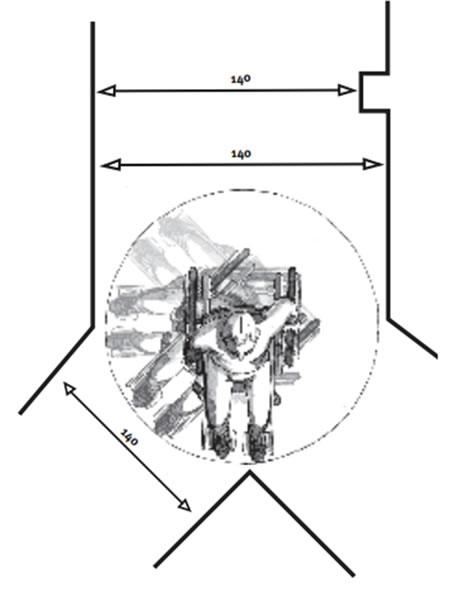 Plan d'accès fauteuille roulant vue du dessus