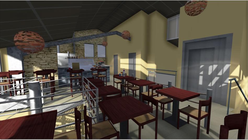 Plan 3D d'un restaurant