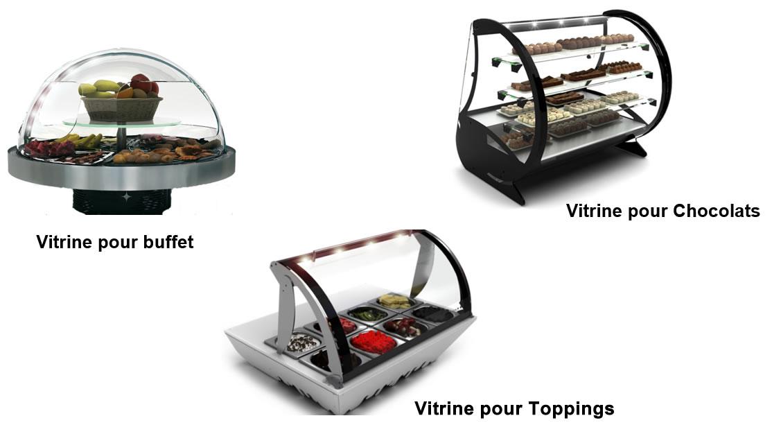 Vitrine pour chocolats, Vitrine pour Toppings Vitrine pour bufftet